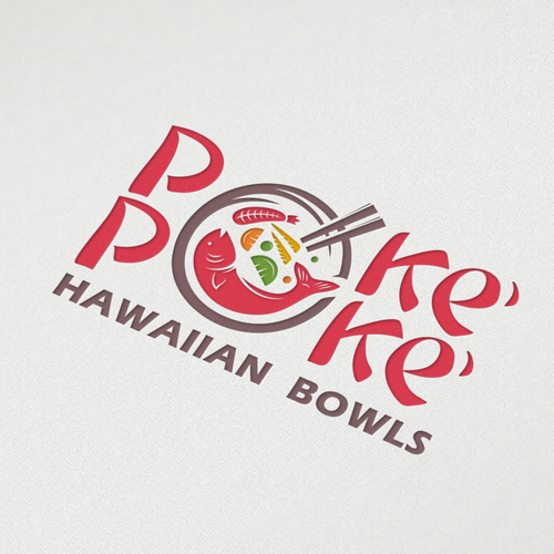 Delicious logo with the title 'Concept food restaurants for Poke' Poke' Hawaiian Bowls'