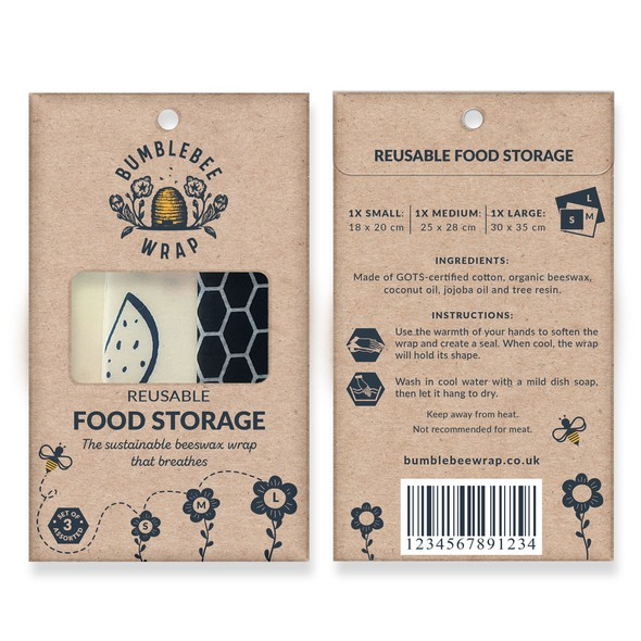 Sustainable packaging with the title 'Eco-friendly beeswax food wraps package design'