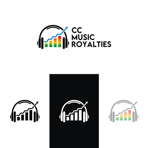 Abstract arrow logo with the title 'CC MUSIC ROYALTIES'