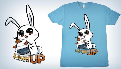 Mascot t-shirt with the title 'Level Up Frozen Yogurt Animal Mascots'