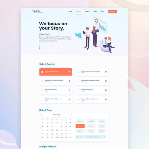 Service website with the title 'Booking Service Page - Accounting'