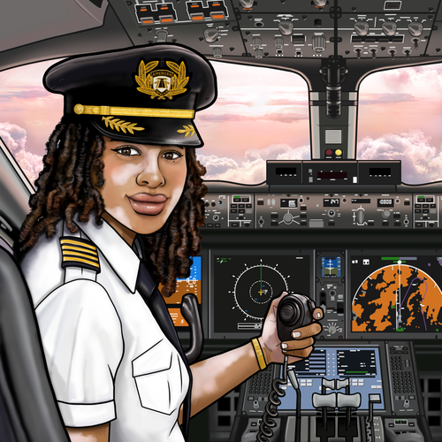 Aviation design with the title 'Female Pilot Illustration '