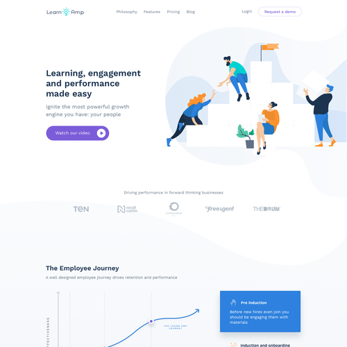Platform design with the title 'Modern, clean and colorful webdesign for Learn Amp.'