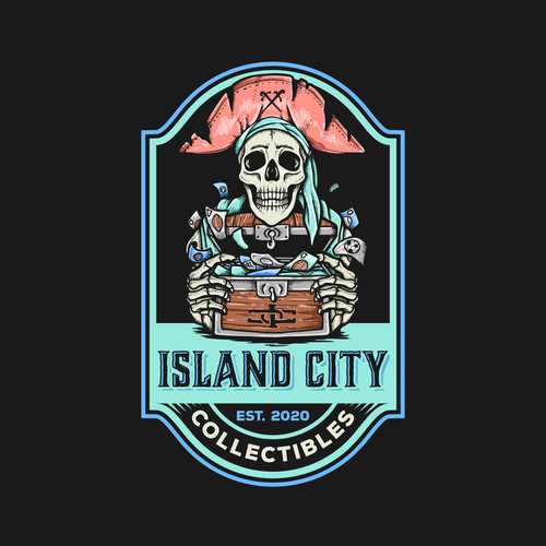 Skull and crossbones logo with the title 'Logo Design for Island City Collectibles'