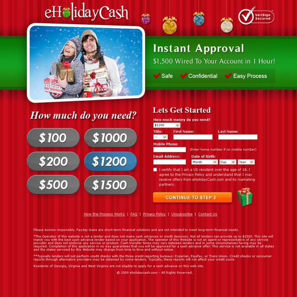 Holiday design with the title 'eHoliday Cash Website'