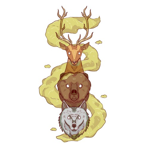 Bear artwork with the title 'Illustration of spirit animals for t shirt design contest'