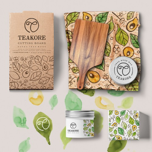 Hand-drawn packaging with the title 'TEAKORE (branding project)'
