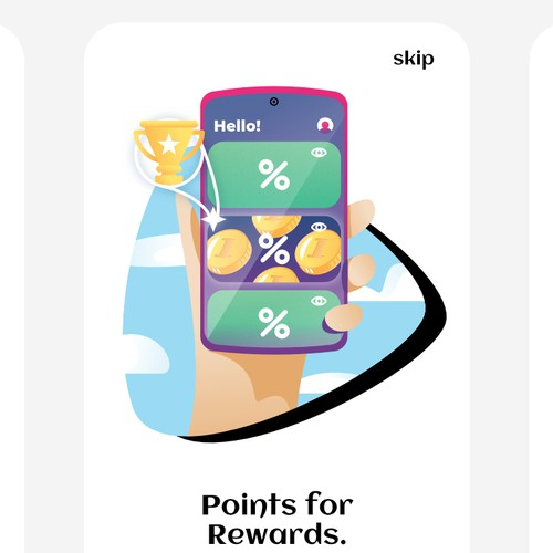 Onboarding design with the title 'Illustrations for mobile web app'