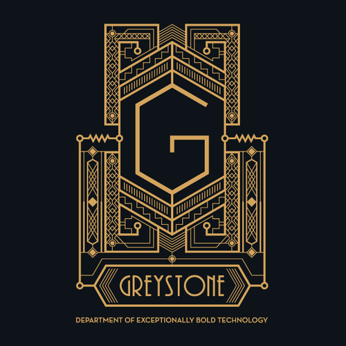Gatsby logo with the title 'Art Deco logo for Greystone'