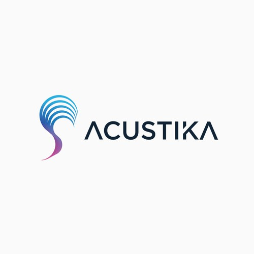 Blue and purple logo with the title 'Acustika logo'