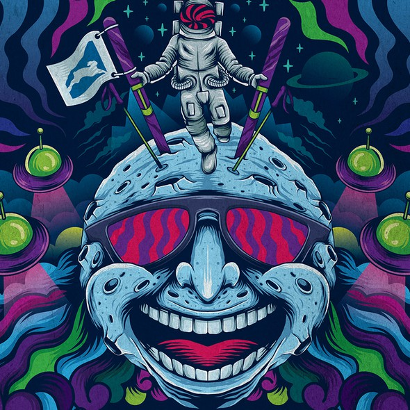 Space illustration with the title 'ballhooter festival poster'