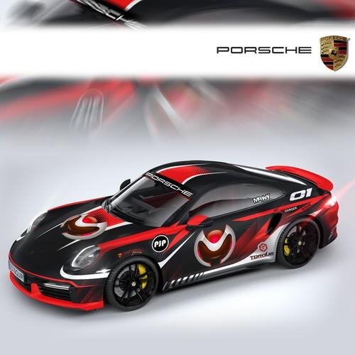 Porsche design with the title 'PORSCHE CAR WRAP'