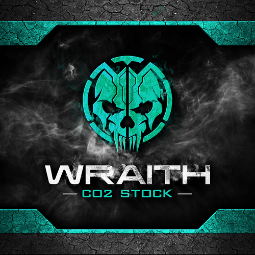 Skull logo with the title 'Logo design for Wraith CO2 Stock'
