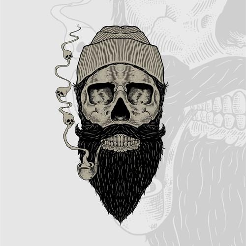 Beard t-shirt with the title 'Beard Skull'