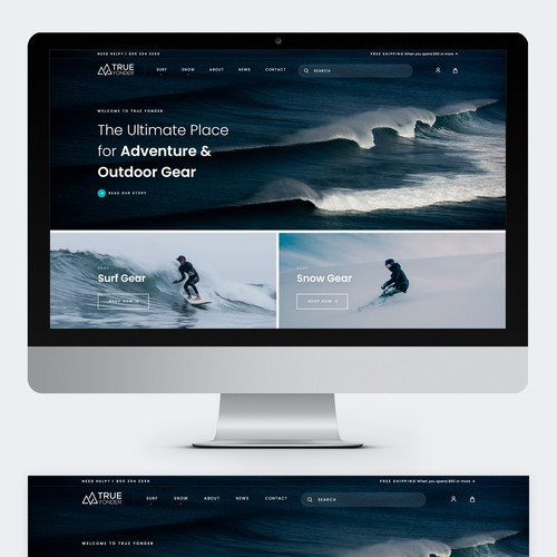 Sports website with the title 'True Yonder eCommerce Design'
