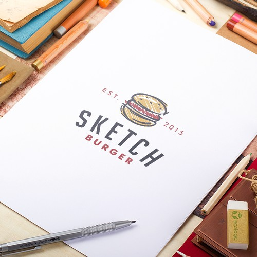 Fast food logo with the title 'Sketch Burger'