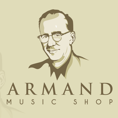 Music production logo with the title 'Create a distintive portrait logo for a music store'