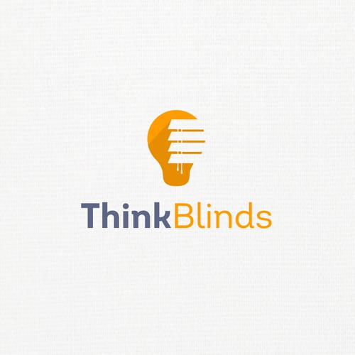 Light bulb logo with the title 'Think Blinds'