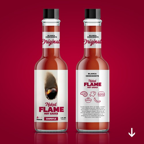 Sauce label with the title 'Hot sauce name+label'
