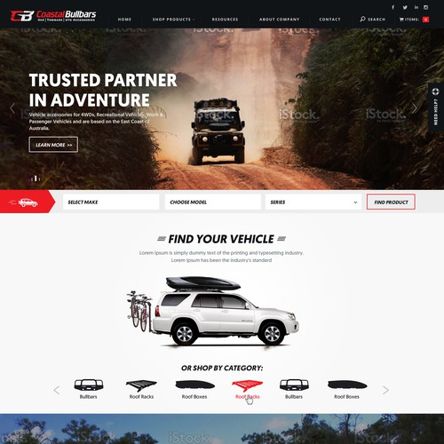 Ecommerce website with the title 'Design for a 4x4 Accessories Website'