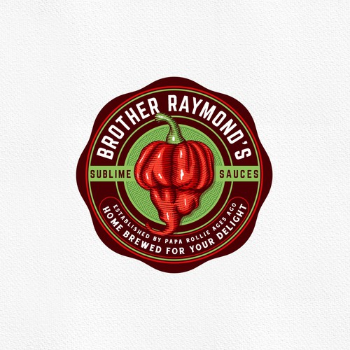 Label logo with the title 'Brother Raymond's Sublime Sauces'