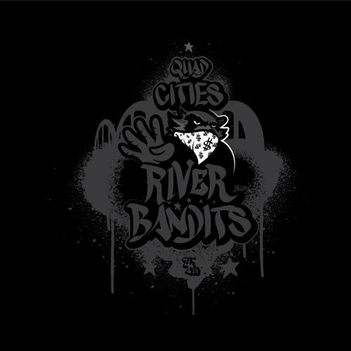 Raccoon design with the title 'RIVER BANDIT'