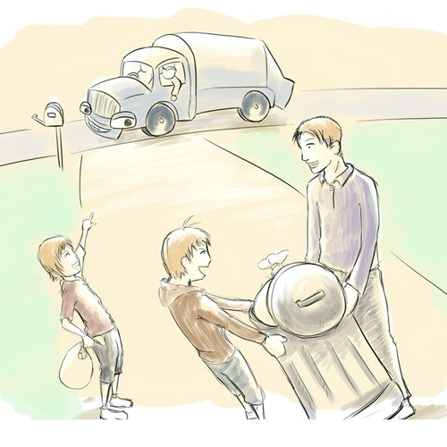 Boy illustration with the title 'Happy Family and a Trash Truck'