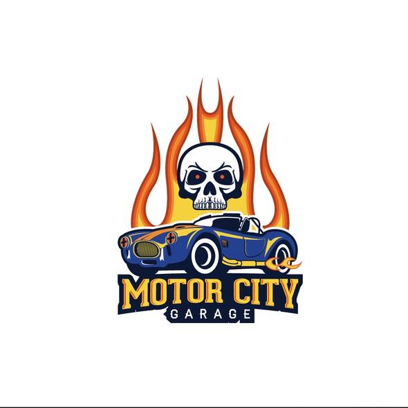 Exhaust logo with the title 'rocking high octane car garage logo design'