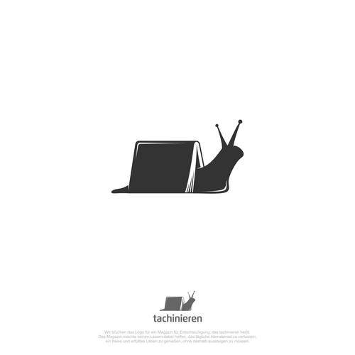 Snail design with the title 'Gestalte ein starkes Logo für eine Zeitschrift für Entschleunigung'