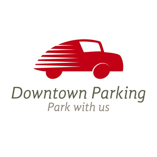Park design with the title 'Downtown Parking - Park with us'