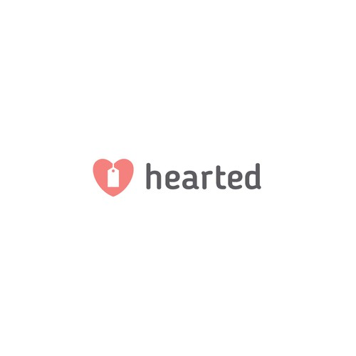 Tag design with the title 'Heart and label logo'
