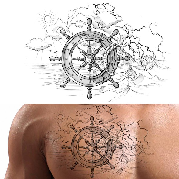 Storm design with the title 'Yin & Yang Boat Wheel Tattoo'