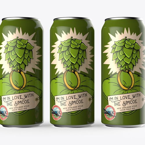 Liquor packaging with the title 'Illustrated can wrap for Brewing Company's newest beer'