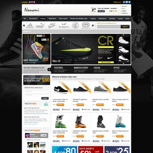 Magento design with the title 'Online sport article website design'