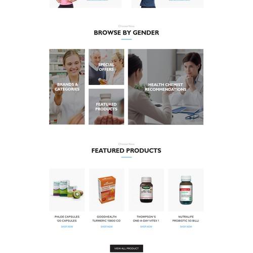 Shopify design with the title 'Healthchemist website design'