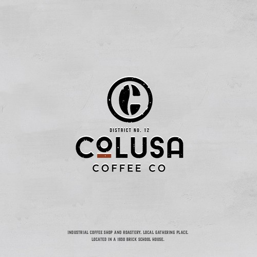 Coffee brand logo with the title 'Industrial coffee house logo design'
