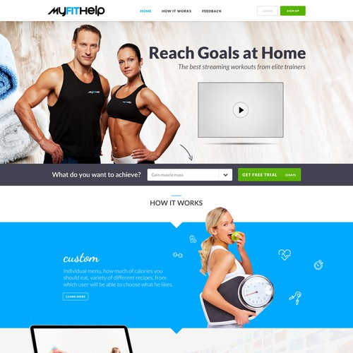 Fitness website with the title 'Create design for Fitness themed website.'