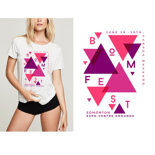 Geometric t-shirt with the title 'Merchandising For BOMFEST'