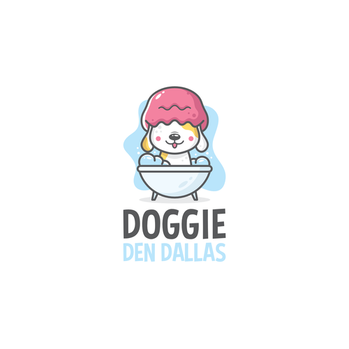 Pet grooming logo with the title 'Let's take a bath doggie'