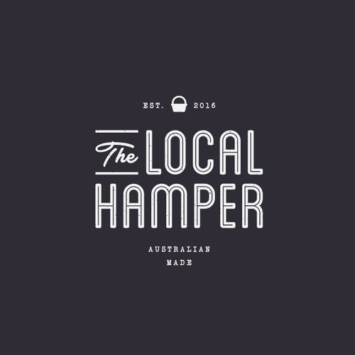 Hipster brand with the title 'Rustic themed logo for new hamper company The Local Hamper '