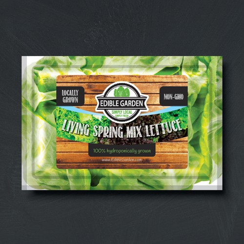 Green label with the title 'Edible Garden Label Design'