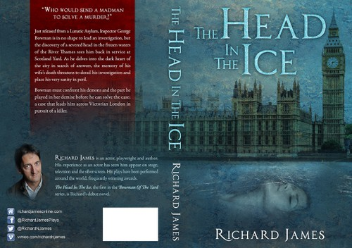 Detective book cover with the title 'Victorian detective discovers a severed head frozen in the River Thames!'