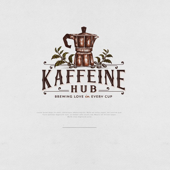 Cafeteria design with the title 'Logo for Kaffeine Hub'