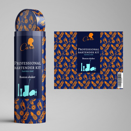 Cocktail packaging with the title 'packaging design for the bartender kit'