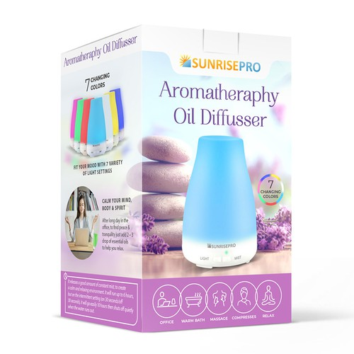 Eco-friendly packaging with the title 'Aromatheraphy Oil Diffusser Box'