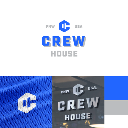 Dumbbell logo with the title 'Crew House gym logo'