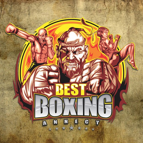 Mixed martial arts design with the title 'Best Boxing Annecy ( modern boxing gym)'