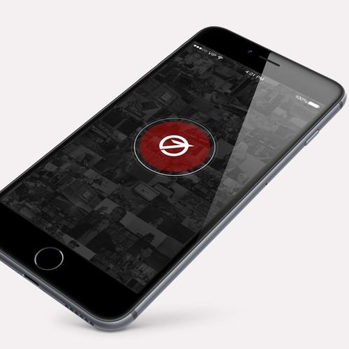 White and red design with the title 'Elegant mobile app for PR agency'