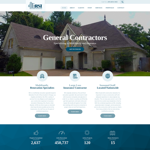 Renovation design with the title 'Wordpress theme for Restoration Systems Inc'