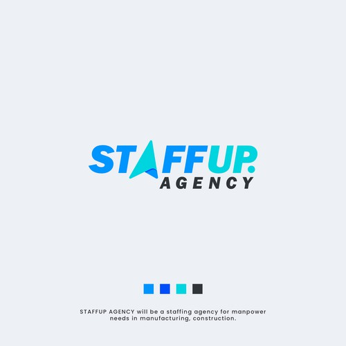 Paper plane logo with the title 'STAFFUP AGENCY'